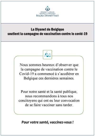 La Diyanet de Belgique soutient la campagne de vaccination contre le covid-19