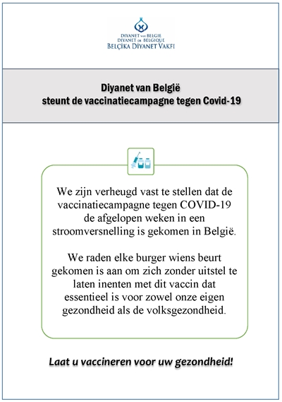 Diyanet van België steunt de vaccinatiecampagne tegen Covid-19