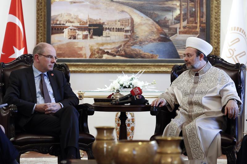 Diyanet İşleri Başkanı Görmez, Belçika Adalet Bakanı Geens ile görüştü…